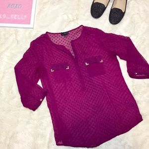 The Limited Dot Sheer Popover Raspberry Blouse